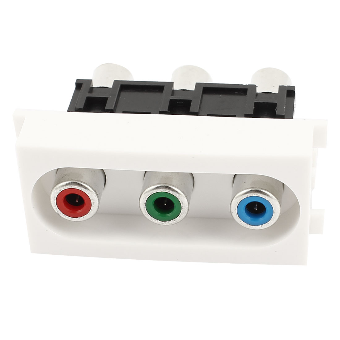 AV YPbPr 3x RCA Female to Female Module Wall Plate Outlet Socket Adapter White