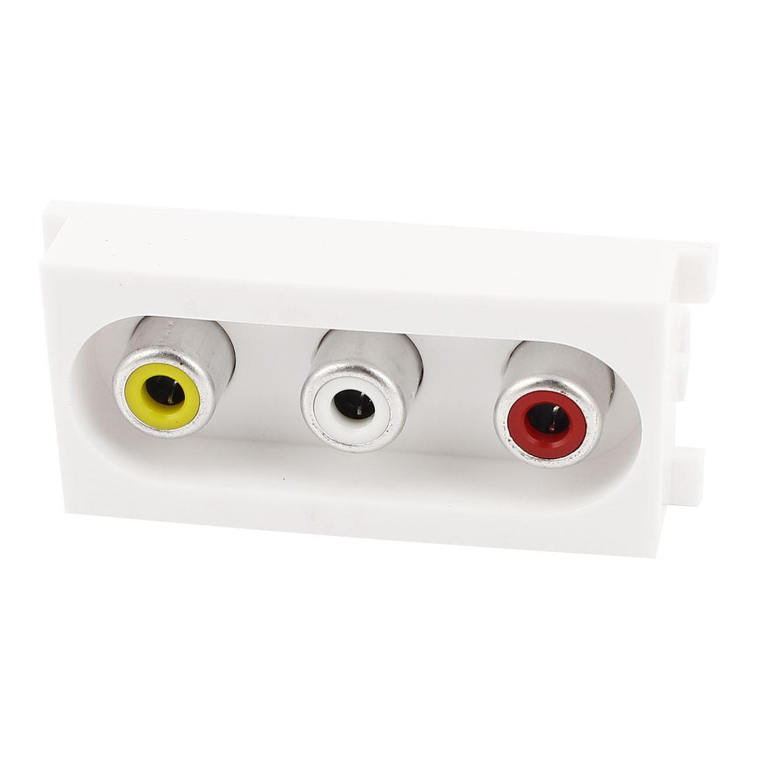 AV Soldered RCA 3x Female Module Wall Plate Outlet Socket Adapter White