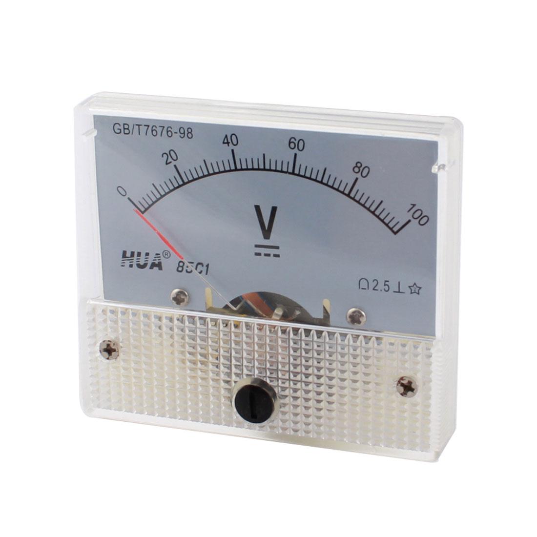 85C1-V DC 0-100V Rectangle Analog Panel Volt Meter Voltmeter Gauge