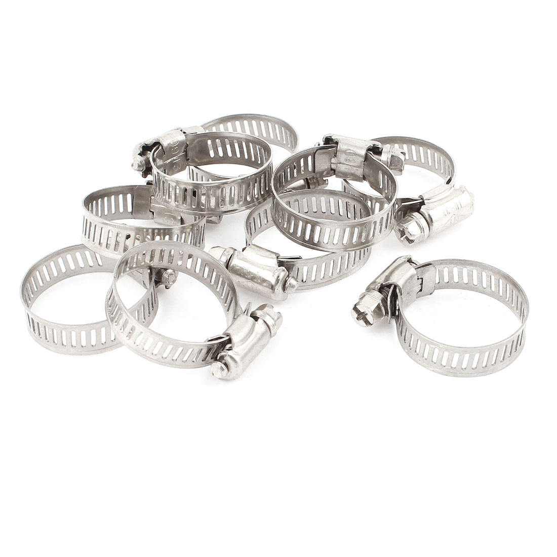 10 Pcs Metal Worm Drive Adjustable Pipe Hose Clamp Hoop 21-38mm