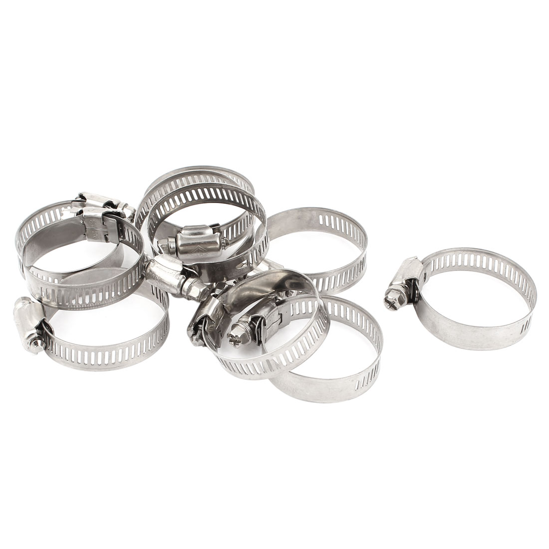 10 Pcs Stainless Steel Adjustable Pipe Hose Clamp Hoop 21-44mm