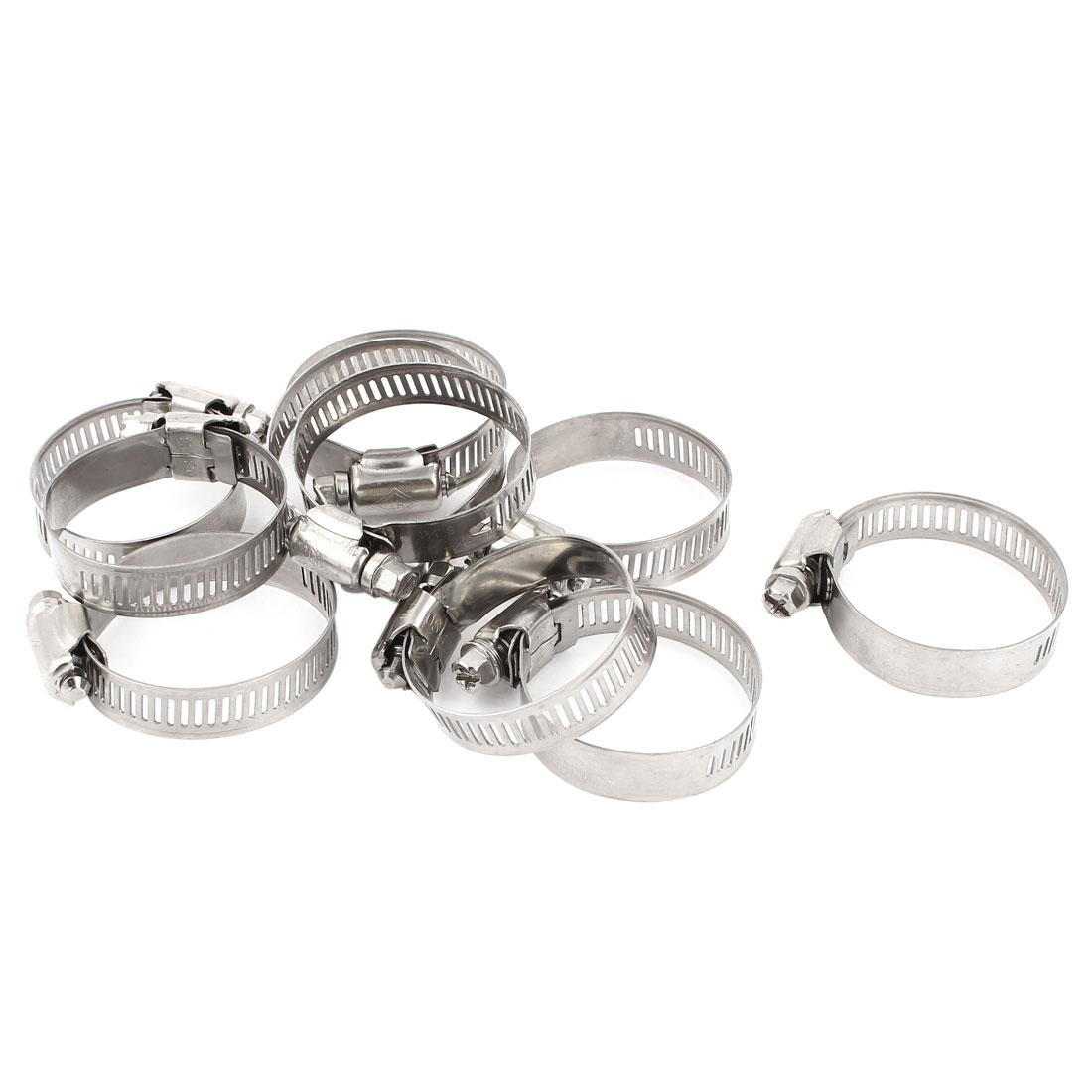 10 Pcs Stainless Steel Adjustable Pipe Hose Clamp Hoop 21-44mm