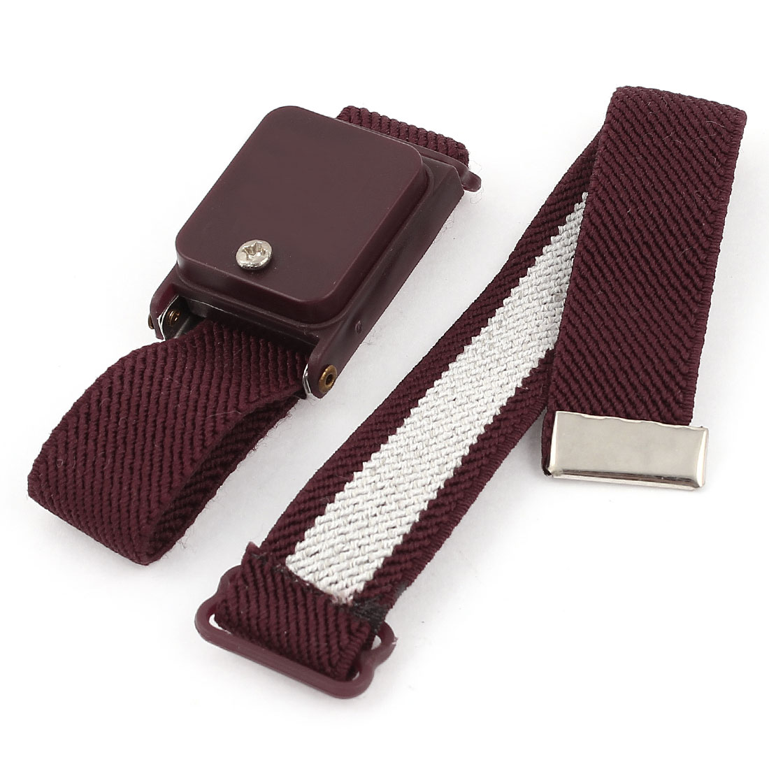 Burgundy ESD Anti Static Discharge Cordless Wrist Strap Wristband w Elastic Band
