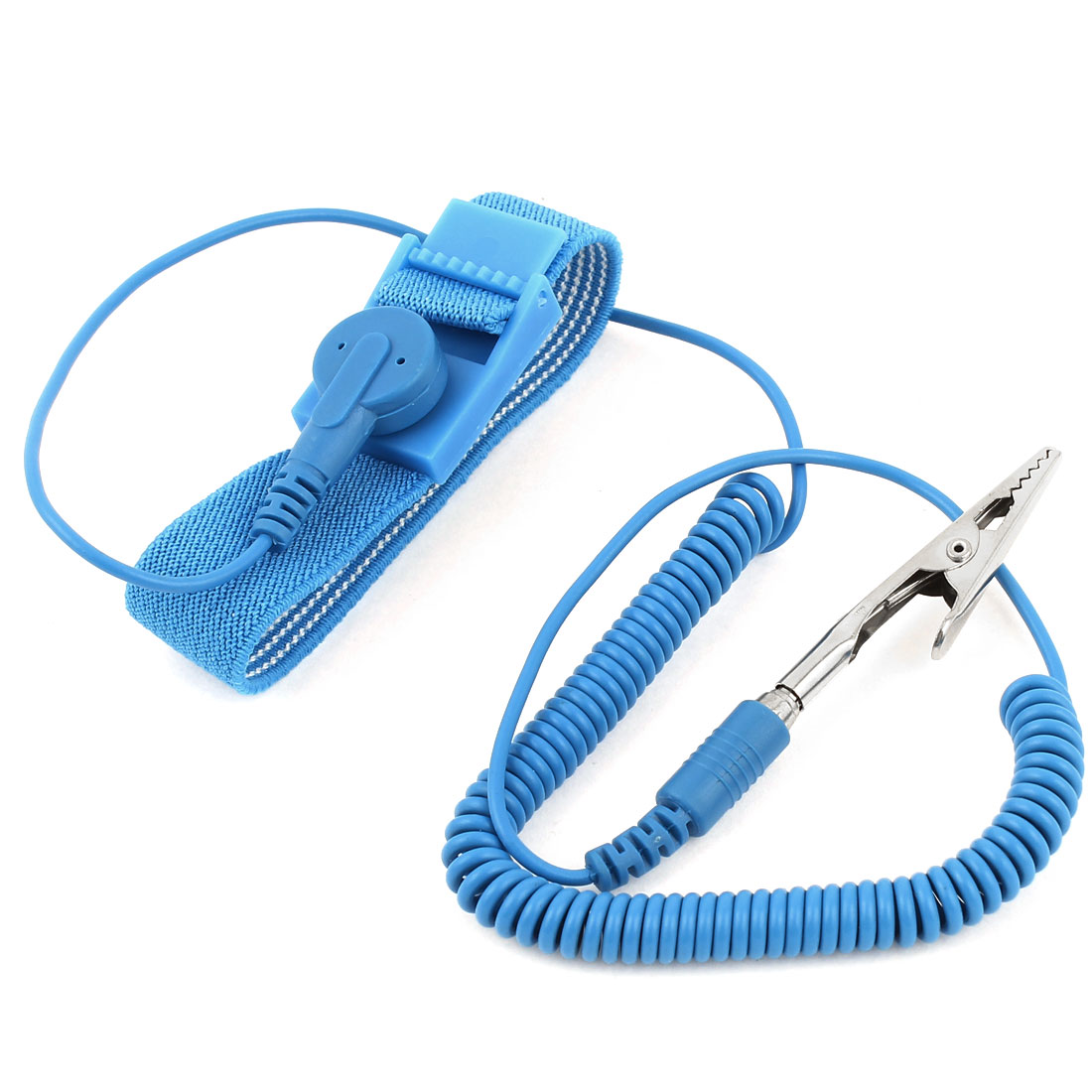 Coil Cable Alligator Clip Grounding Anti-Static Wrist Strap Wristband Blue
