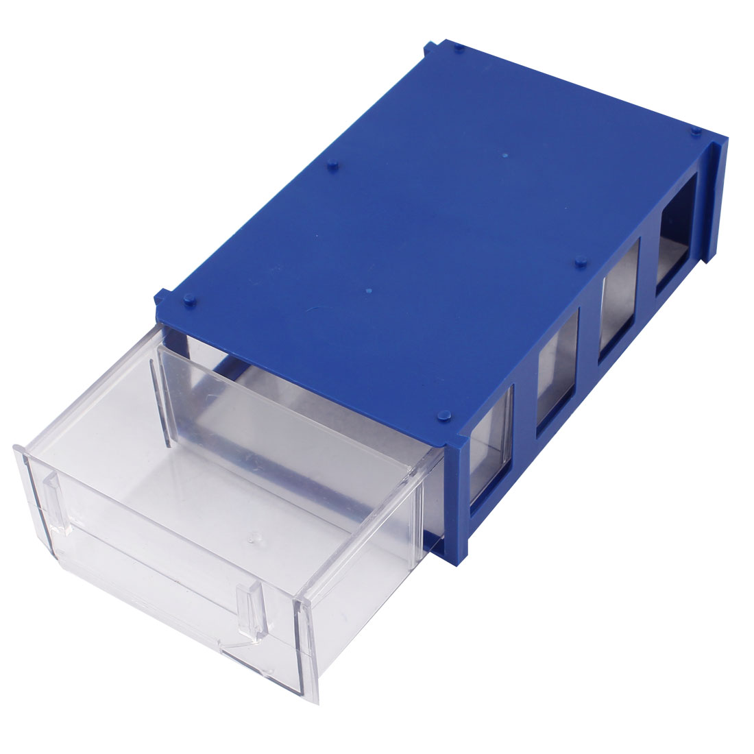 Blue Clear Plastic Electronic Parts Components Drawer Holder Organizer Case Box