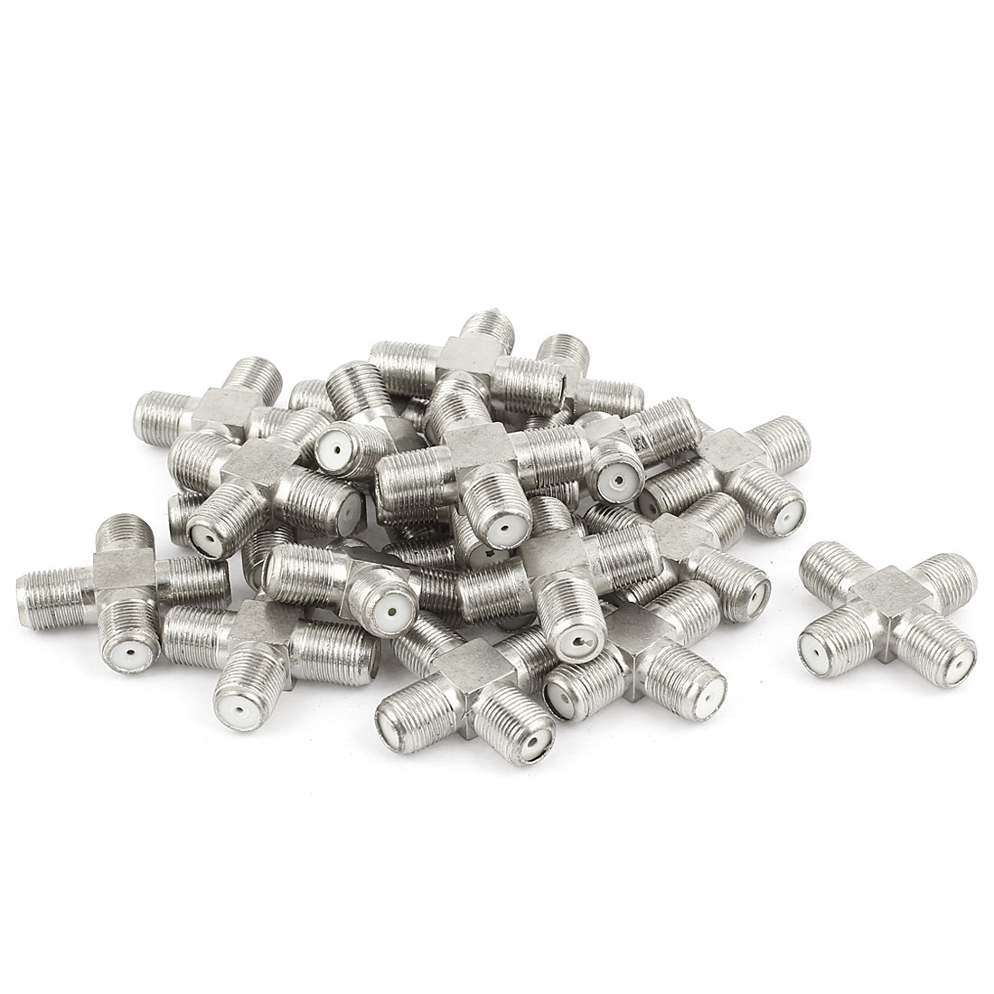 20 Pcs 1x F Female to 3x F Type Female Splliter 4 Way Connector Adapter