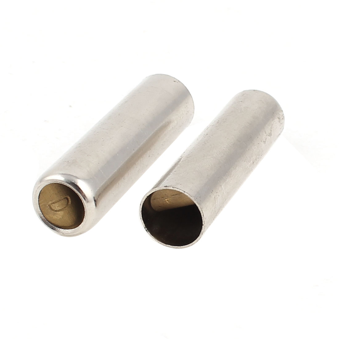 2 Pcs Metal Whistle Sound Tubing Pipe Silver Tone 10x36mm