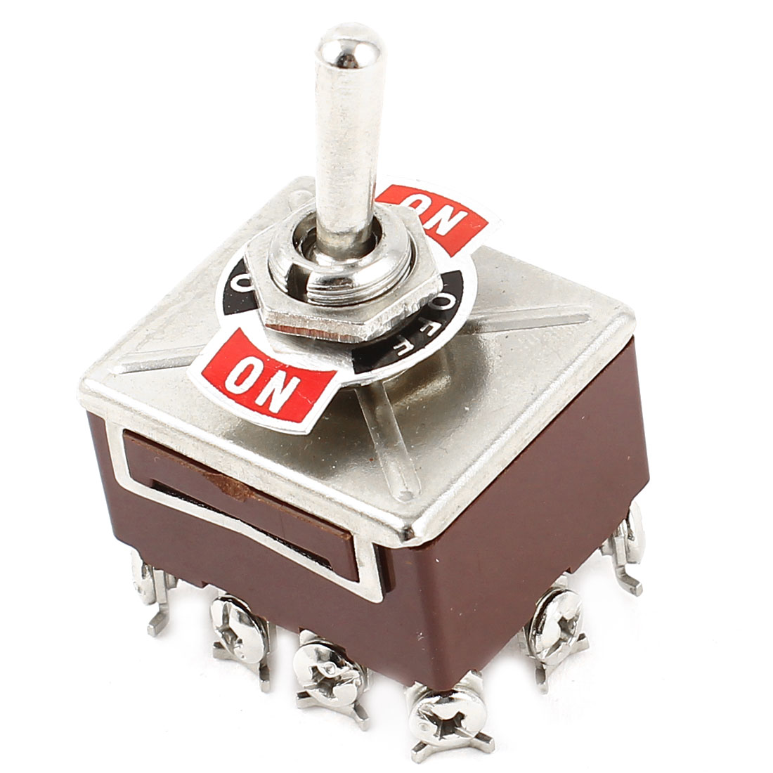 AC 250V/15A 380V/10A 12 Screw Termials 4PDT 3Position On/Off/On Toggle Switch