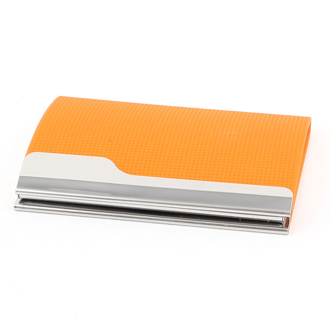 Magnetic Closure Business Name ID Card Holder Box Case Orange