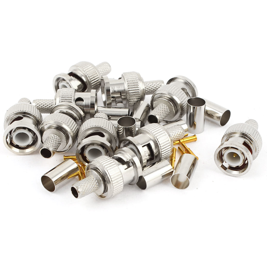10 Pcs BNC Male RG59 Coaxial Crimp Connector Adapter Set for CCTV camera