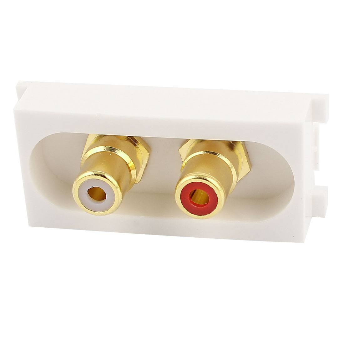 Straight 2x AV RCA Coaxial Female to Female Module Wall Panel Plate