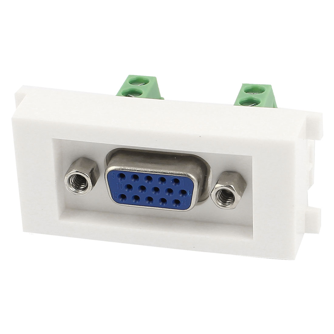 White Plastic Screw Terminal VGA Female Socket Module Wall Panel Plate