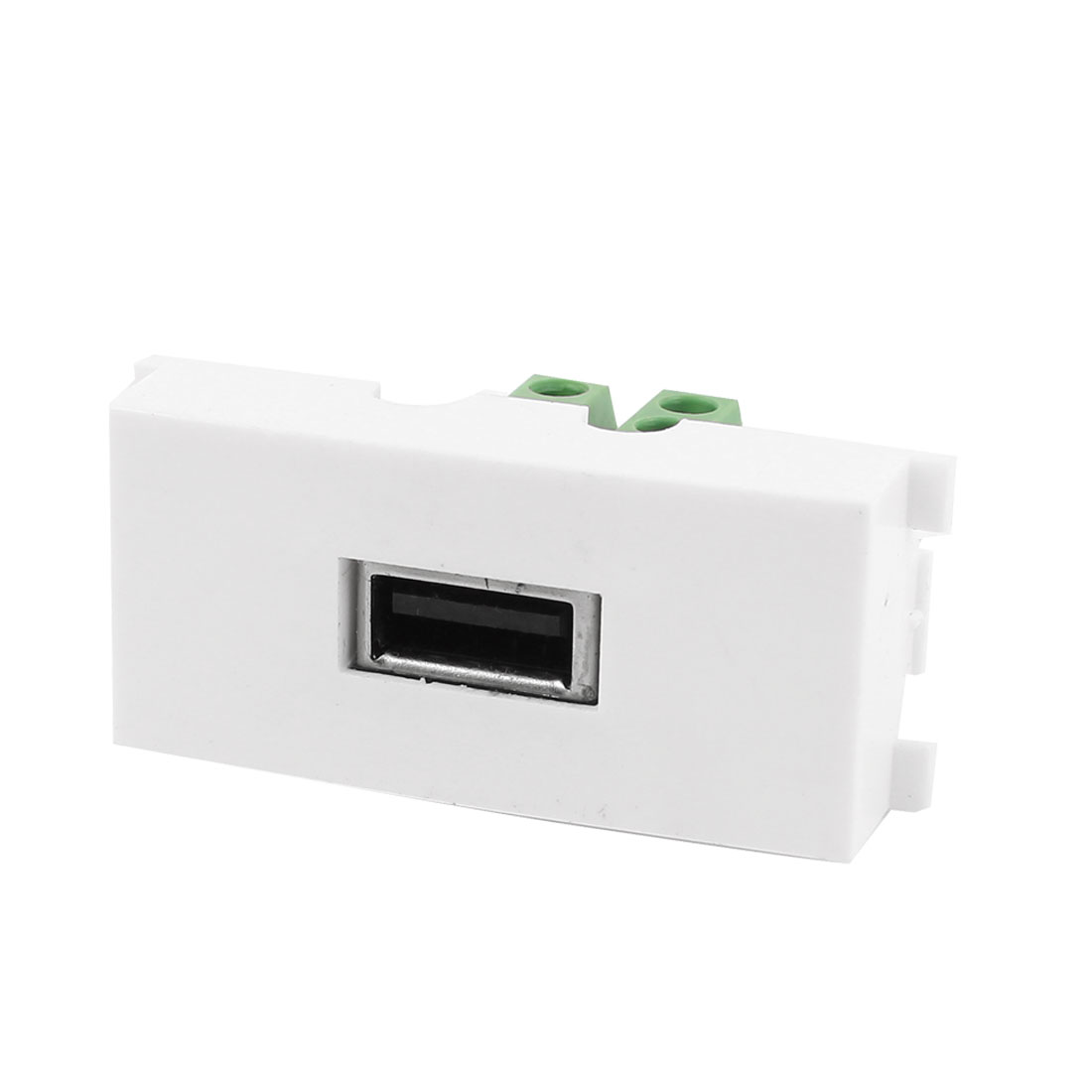 White Plastic Screw Terminal USB A Female Socket Module Wall Panel Plate