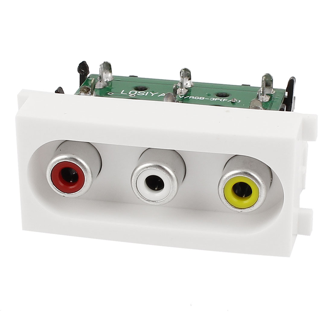 Audio Video RCA 3x Female to 3x Female Connector Module Wall Panel Plate White