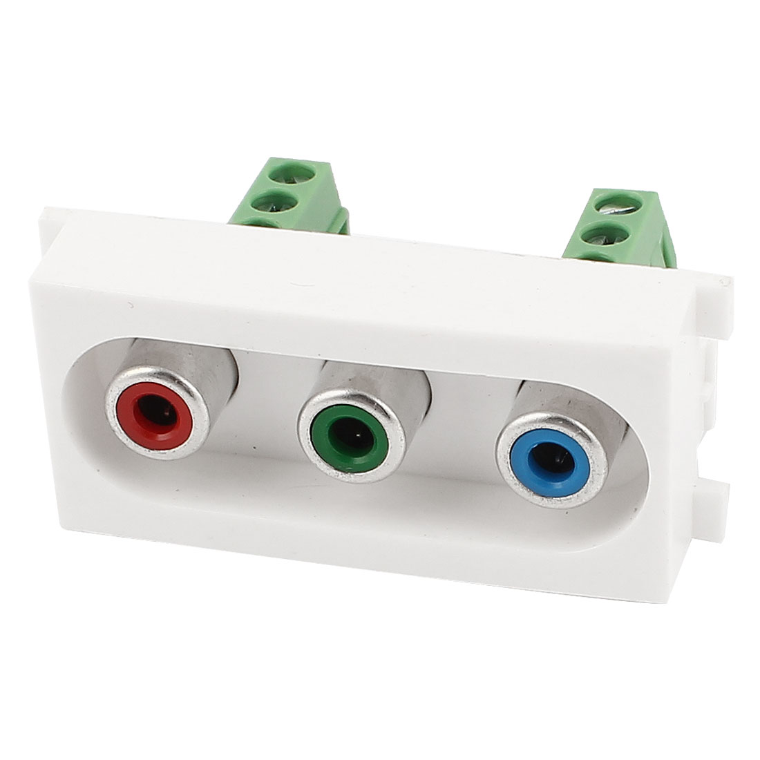 White Plastic YPbPr 3x RCA Female Socket Screw Terminal Module Wall Panel Plate