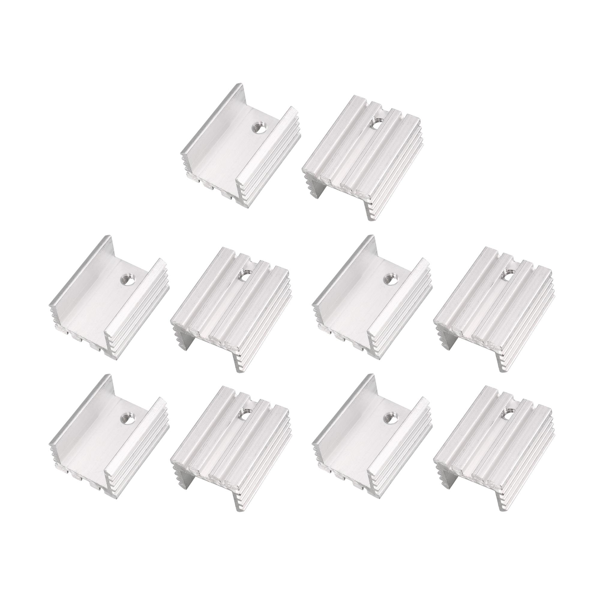 10 Pcs 21x15x10mm Silver Tone Aluminum Heat Sink for TO-220 Transistors