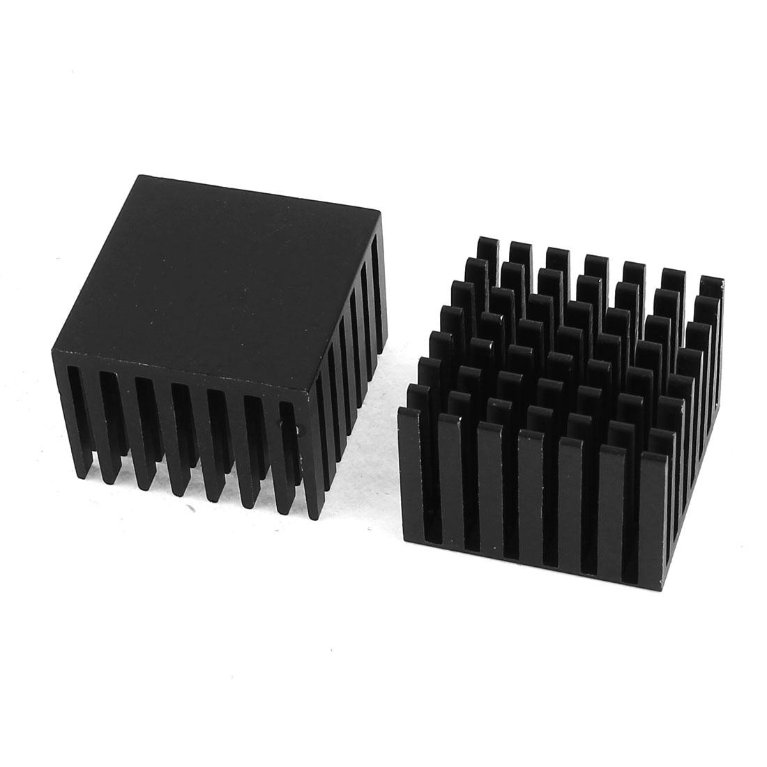 2 Pcs Black Aluminum Radiator Heat Sink Heatsink 28mm x 28mm x 20mm