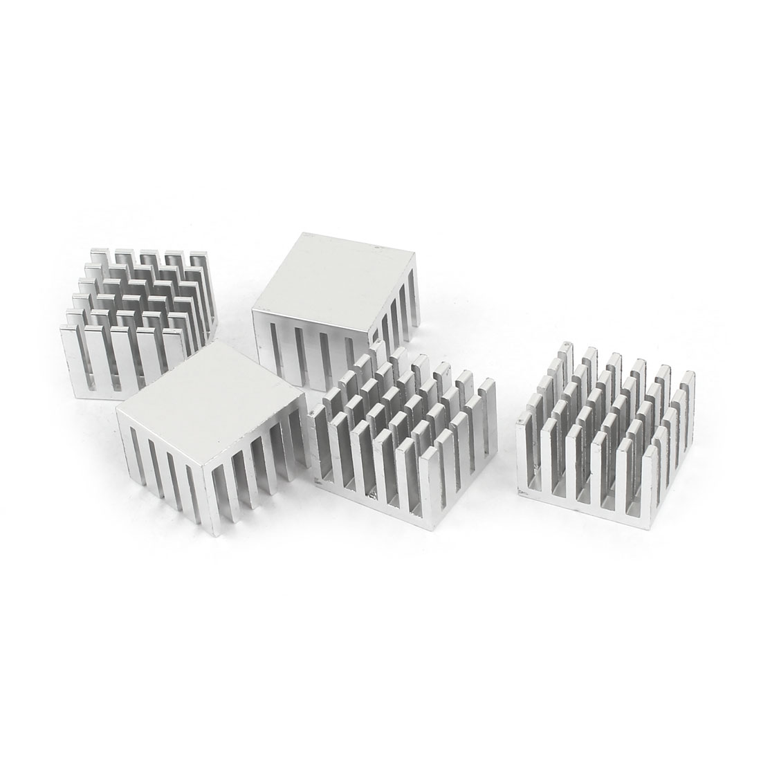 5 Pcs Silver Tone Aluminum Cooler Radiator Heat Sink Heatsink 20mm x 21mm x 15mm
