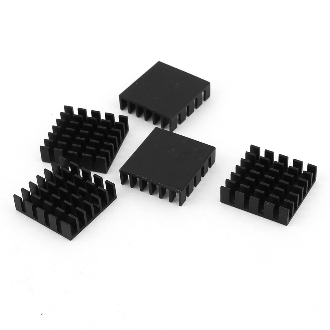5 Pcs Black Aluminum Cooler Radiator Heat Sink Heatsink 20mm x 20mm x 6mm