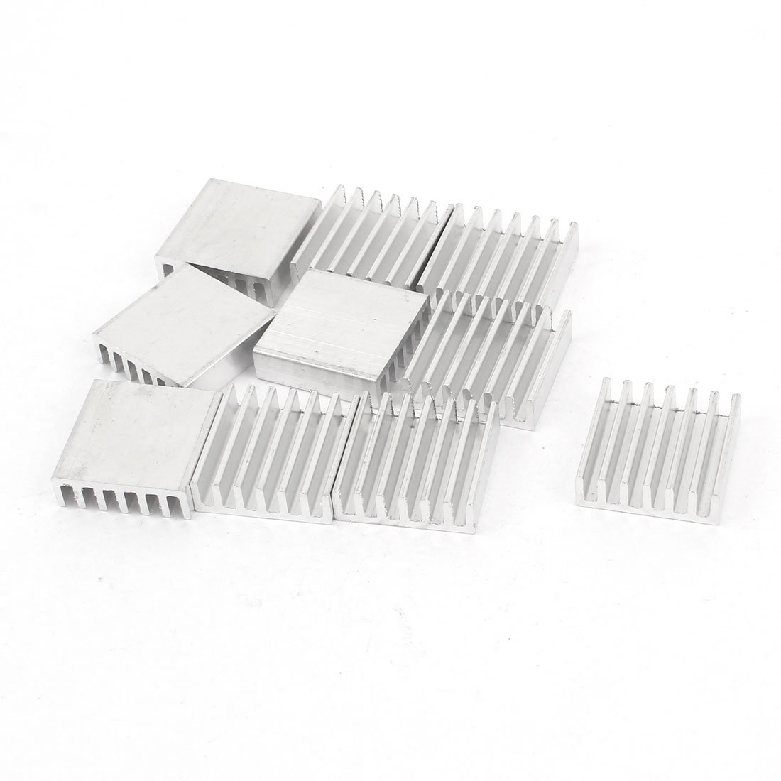 10 Pcs Silver Tone Aluminum Cooler Radiator Heat Sink Heatsink 20mm x 20mm x 6mm