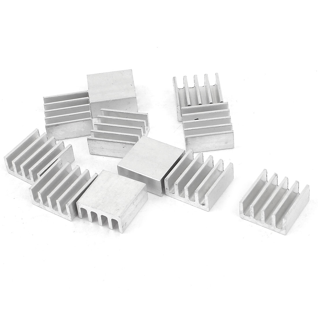 10 Pcs Silver Tone Aluminum Cooler Radiator Heat Sink Heatsink 11mm x 11mm x 5mm