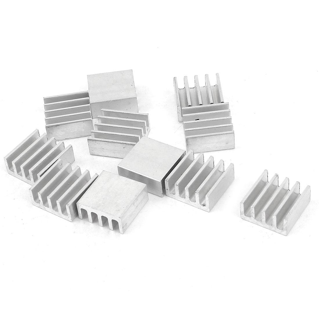 10 Pcs Silver Tone Aluminum Cooler Radiator Heat Sink Heatsink 11mm x 11mm x 5mm