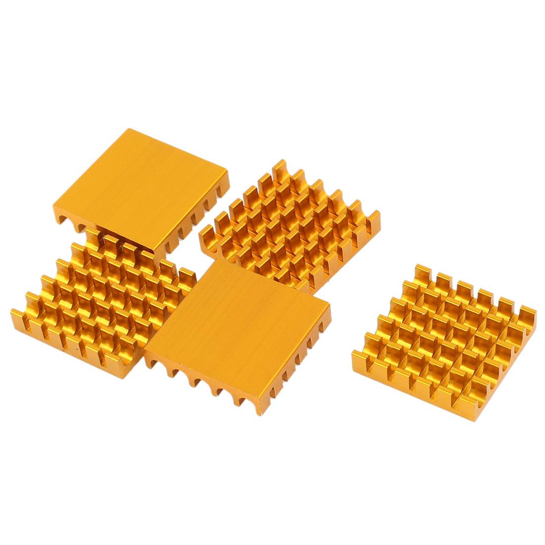 5 Pcs Gold Tone Aluminum Radiator Heat Sink Heatsink 22mm x 22mm x 5mm