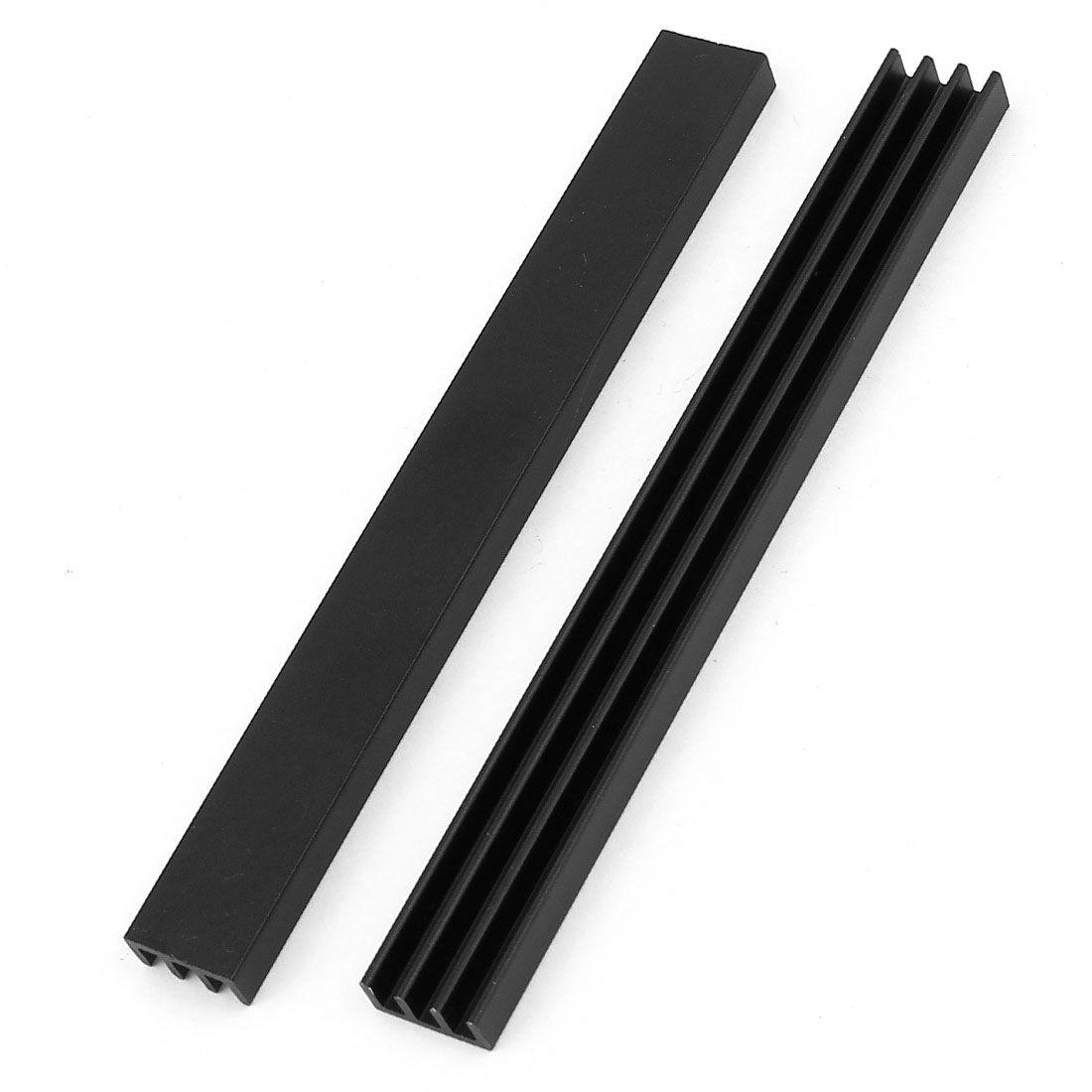 2 Pcs Black Aluminum Radiator Heat Sink Heatsink 100x11x5mm