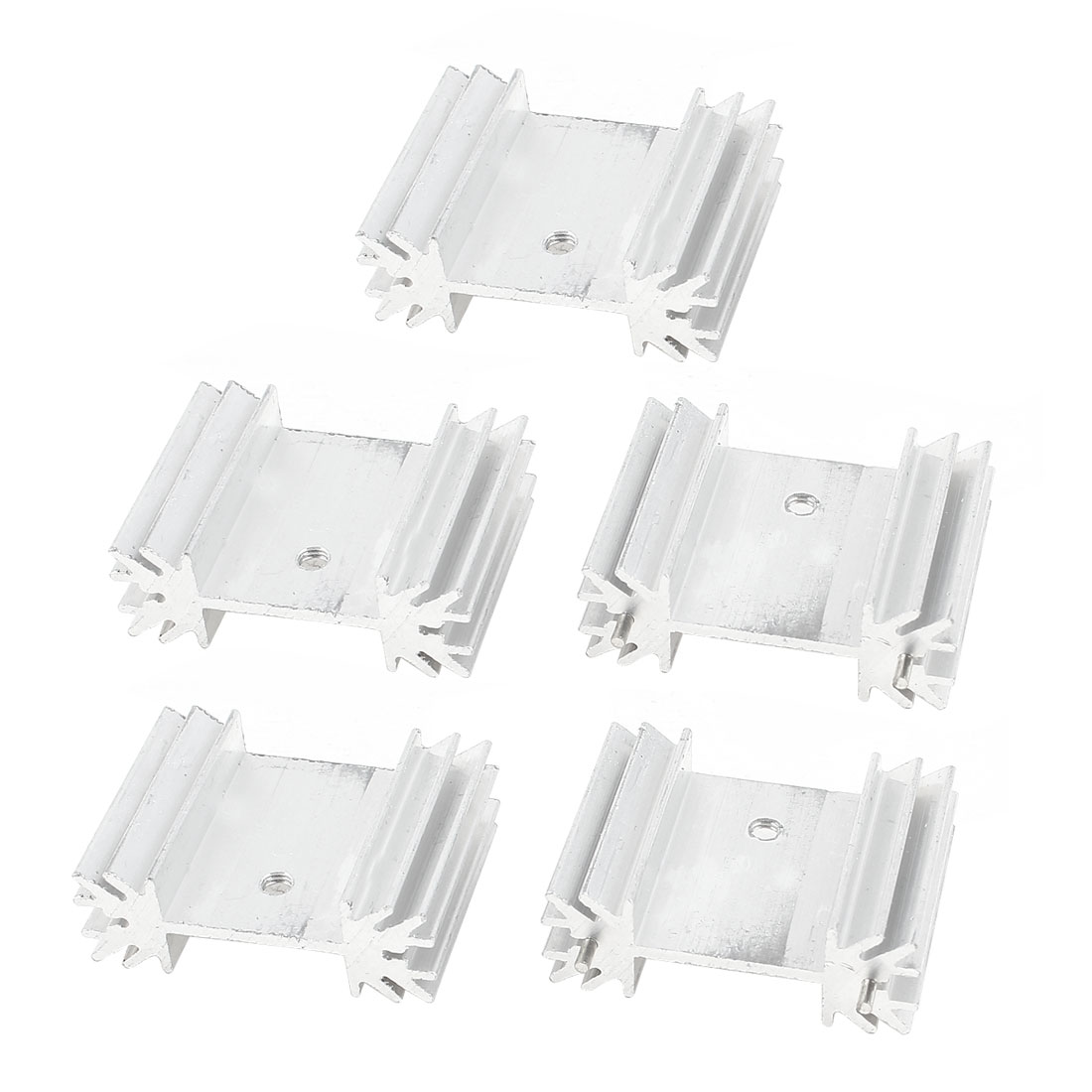 TO220 Power IC Aluminum Heat Sink Heatsink Silver Tone 25x34x12mm 5 Pcs