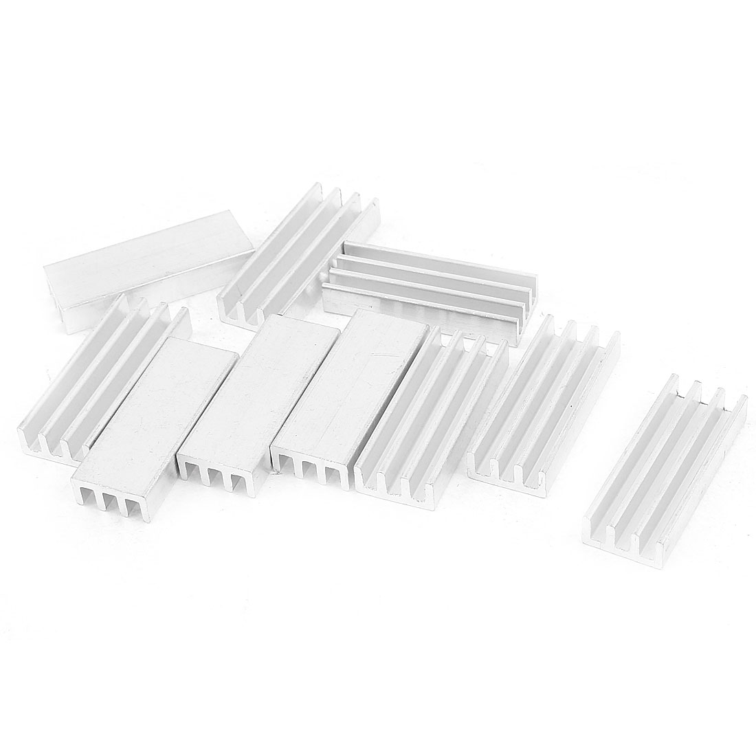 10 Pcs Silver Tone Aluminum Cooler Radiator Heat Sink Heatsink 30mm x 11mm x 5mm