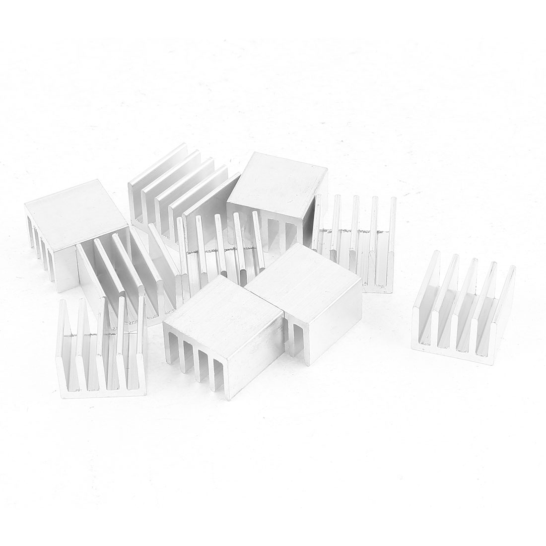 10 Pcs Silver Tone Aluminum Radiator Heat Sink Heatsink 14mm x 14mm x 10mm