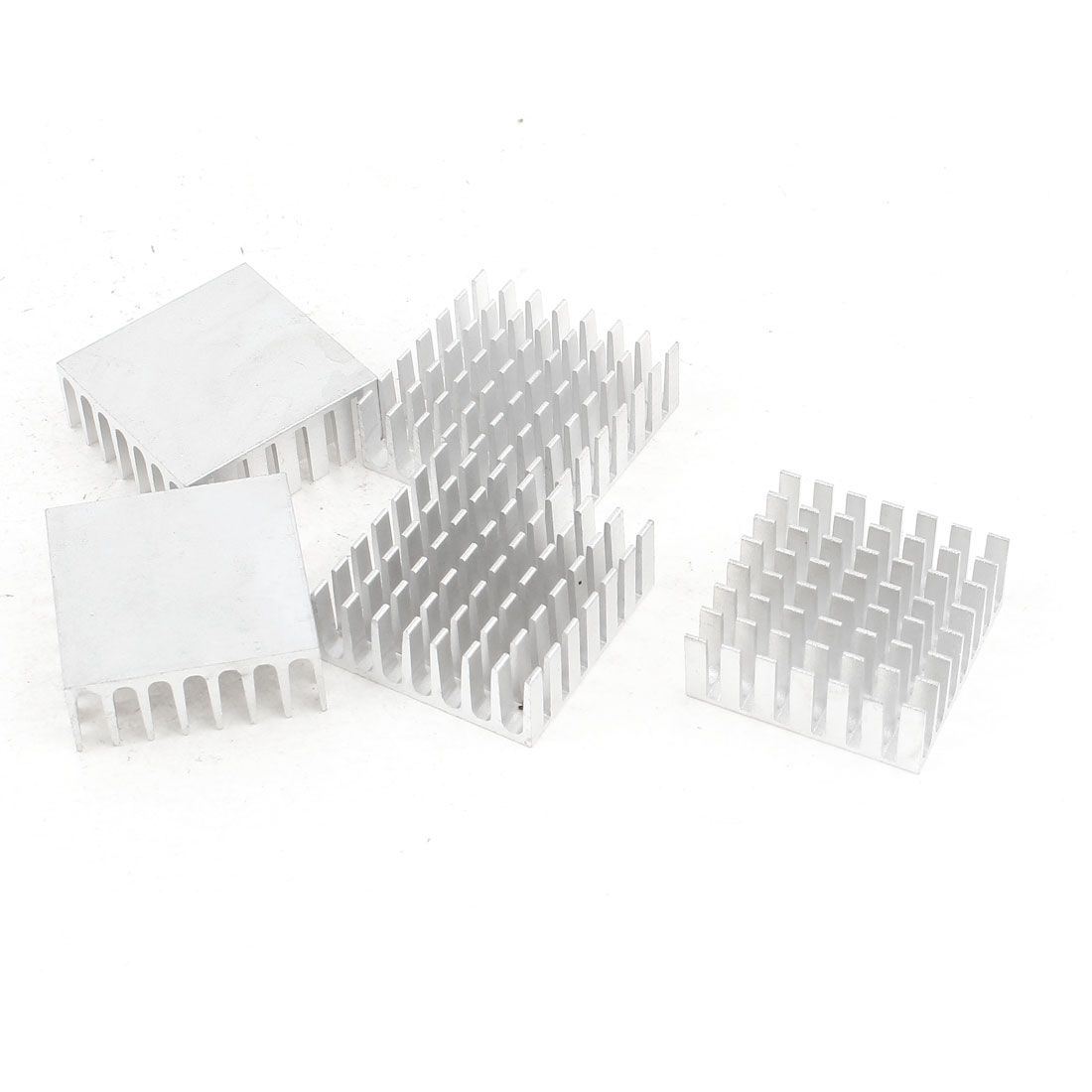5 Pcs Silver Tone Aluminum Cooler Radiator Heat Sink Heatsink 28mm x 28mm x 11mm