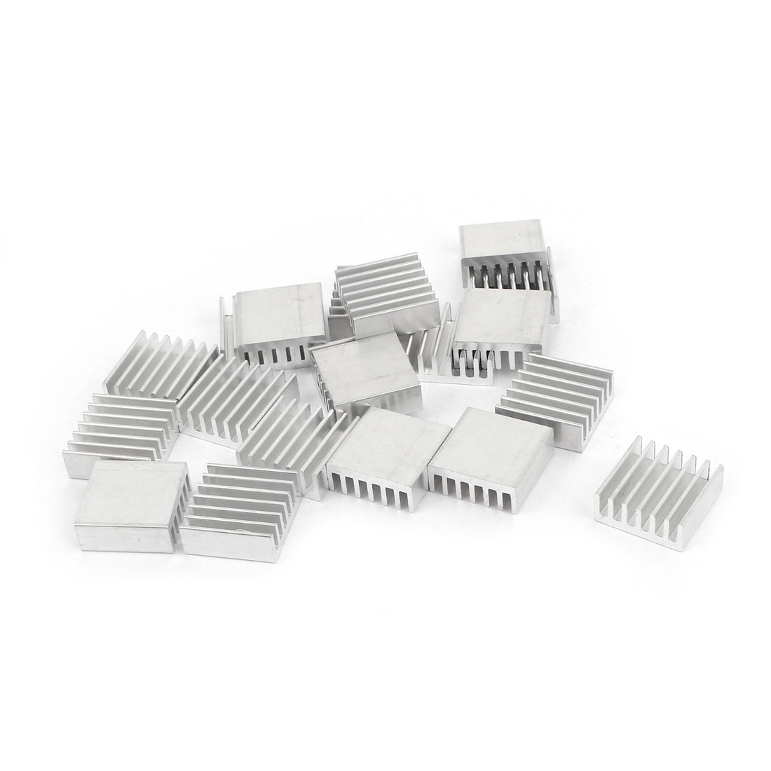 20 Pcs Silver Tone Aluminum Cooler Radiator Heat Sink Heatsink 14mm x 14mm x 6mm