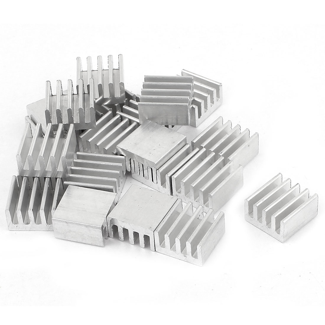 20 Pcs Silver Tone Aluminum Cooler Radiator Heat Sink Heatsink 8.8mm x 8.8mm x 5mm
