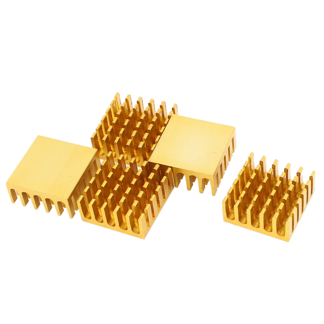 5 Pcs Gold Tone Aluminum Cooler Radiator Heat Sink Heatsink 22mm x 22mm x 10mm