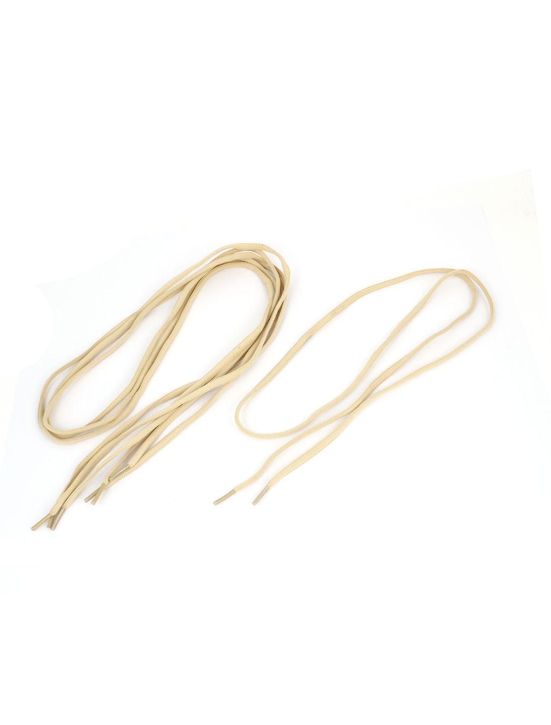 Ladies Men Sneakers Nylon Flat Shoelaces Shoe String Beige 116cm Length 2 Pairs