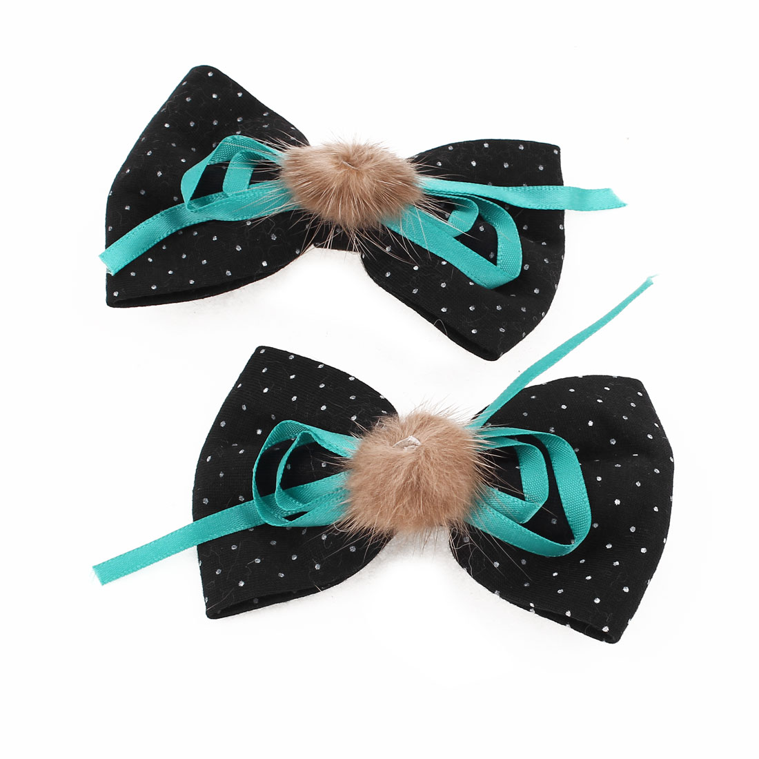 2Pcs Green Ribbon Dots Bowknot Decor Barrette Alligator Hair Clip Black