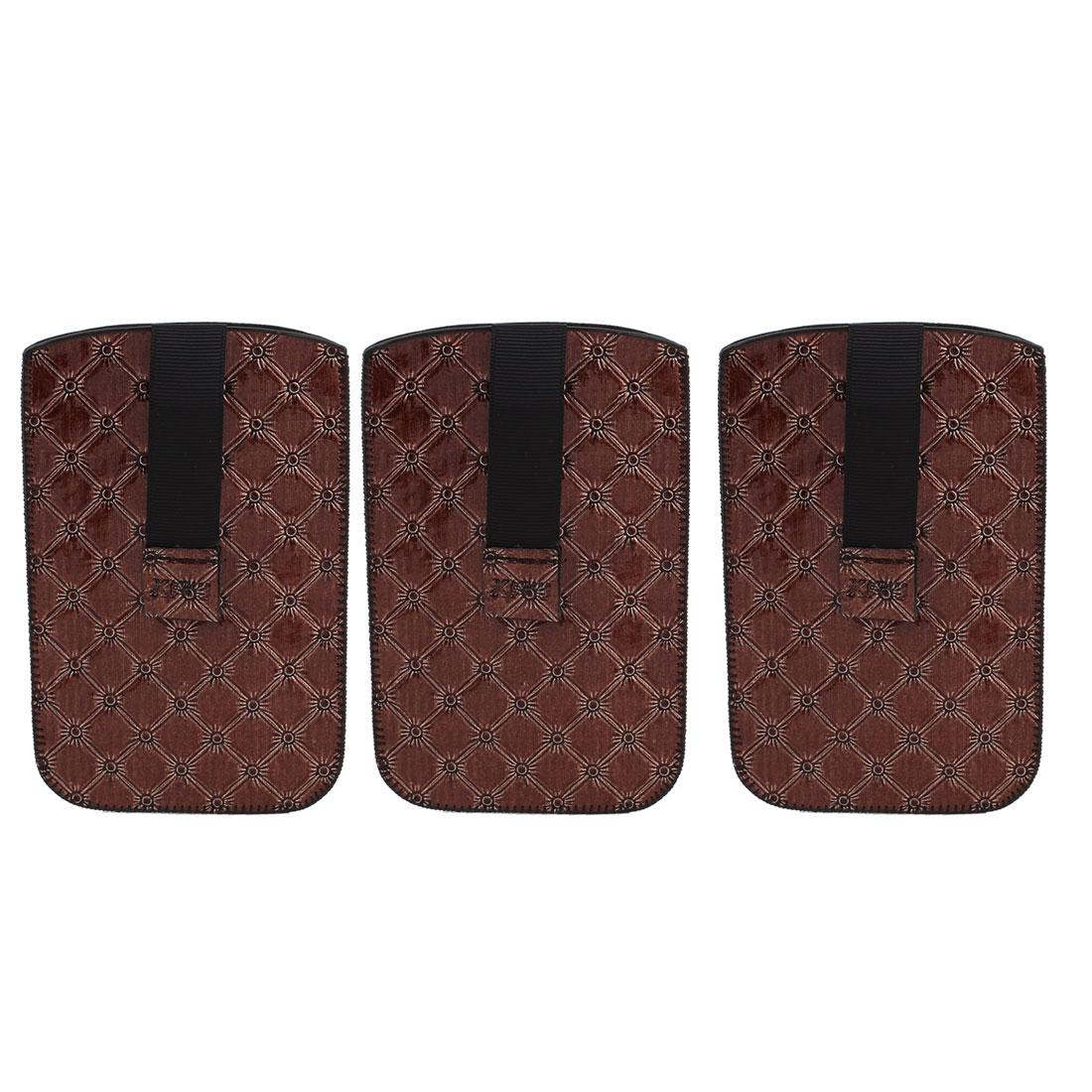 3 Pcs Brown Protective Vertical Bag Holder Case for Mobile Phone