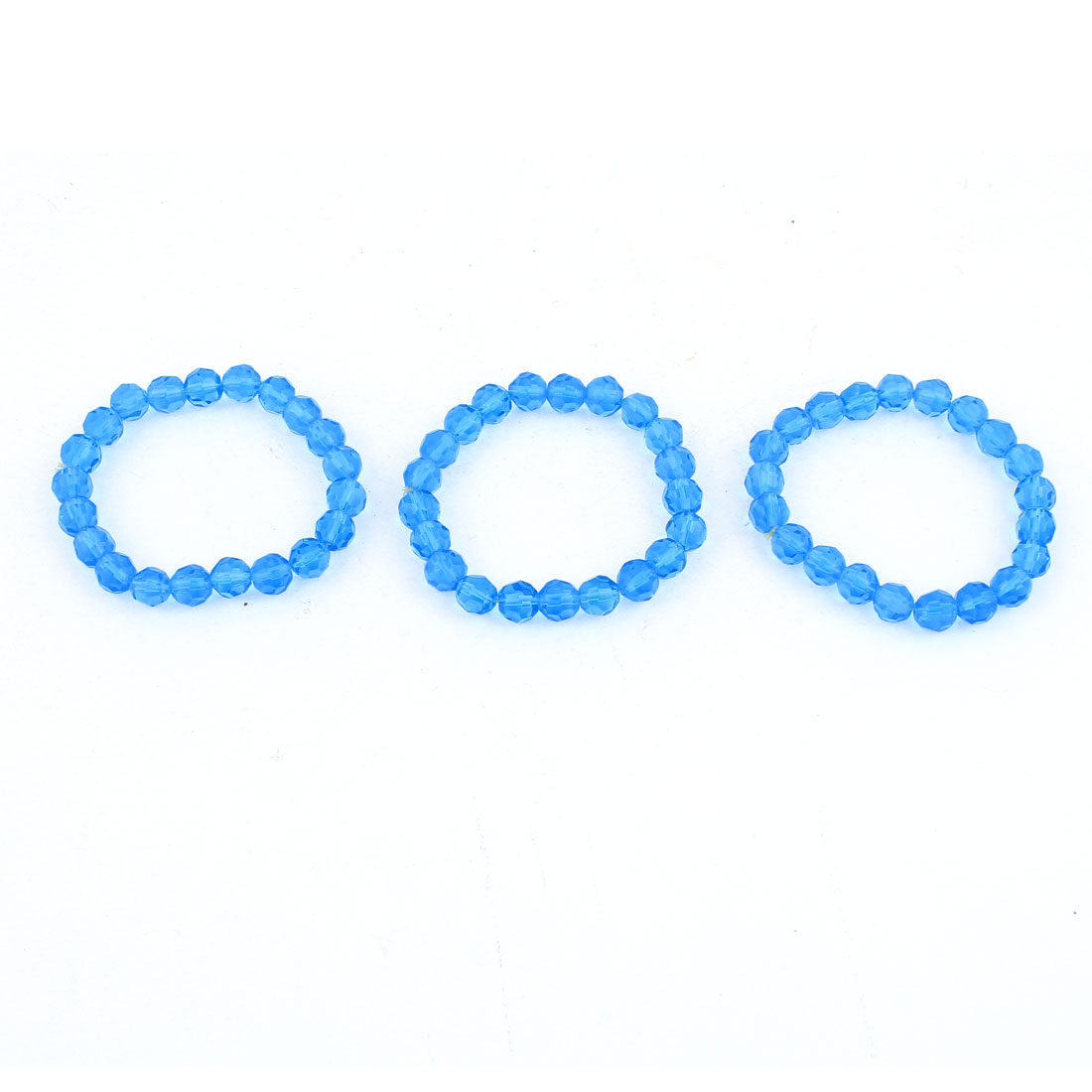 Lady Elastic Band Clear Blue Plastic Beads Accent Bracelet 3 Pcs