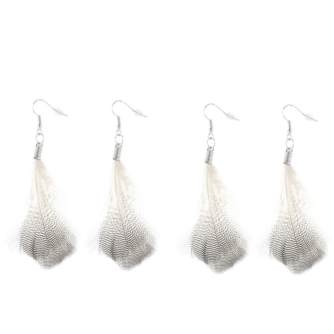 2 Pairs Bird Feather Dangle Pendant Earring Eardrop for Lady