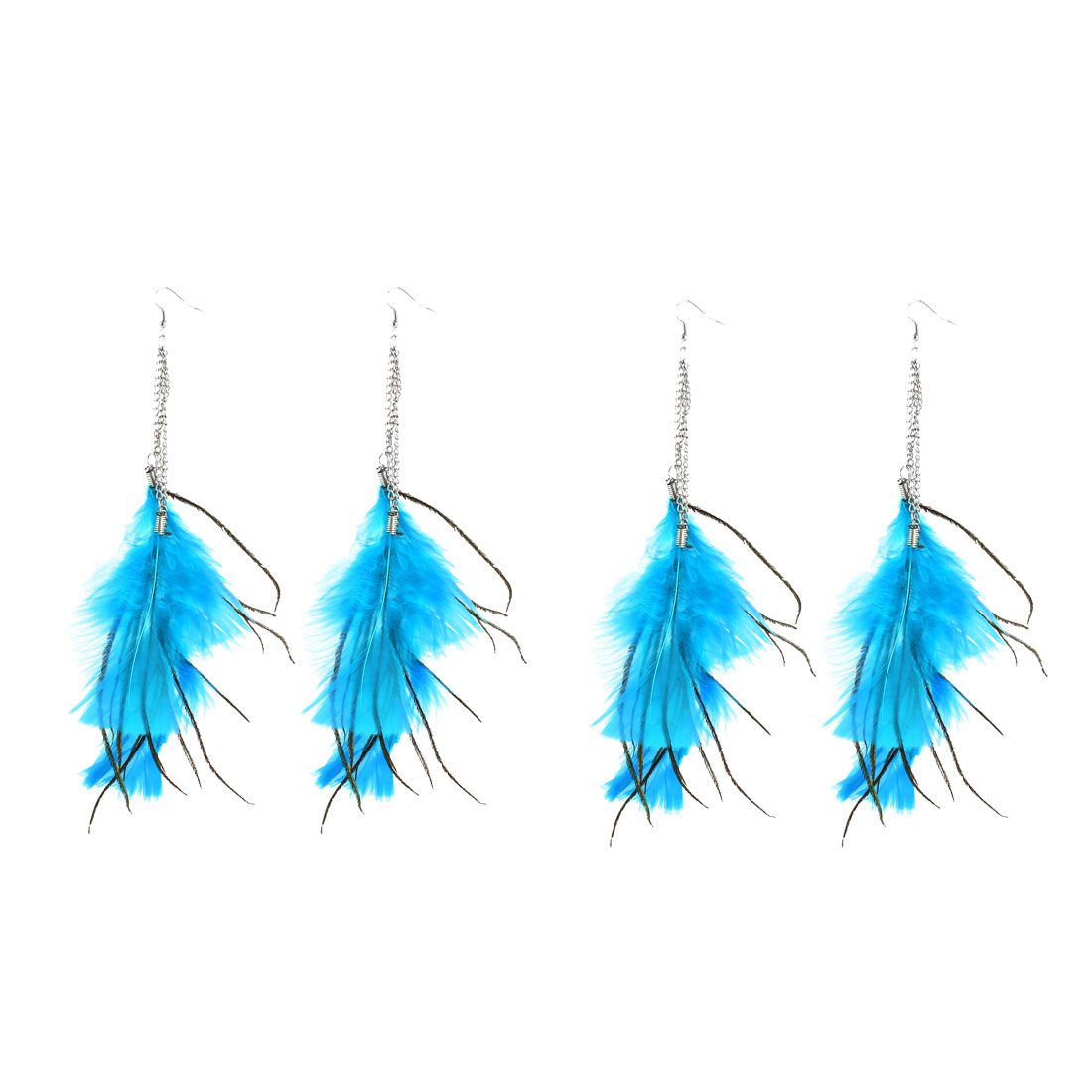 2 Pairs Metal Chain Linked Blue Feathers Pendant Earring Eardrop for Lady