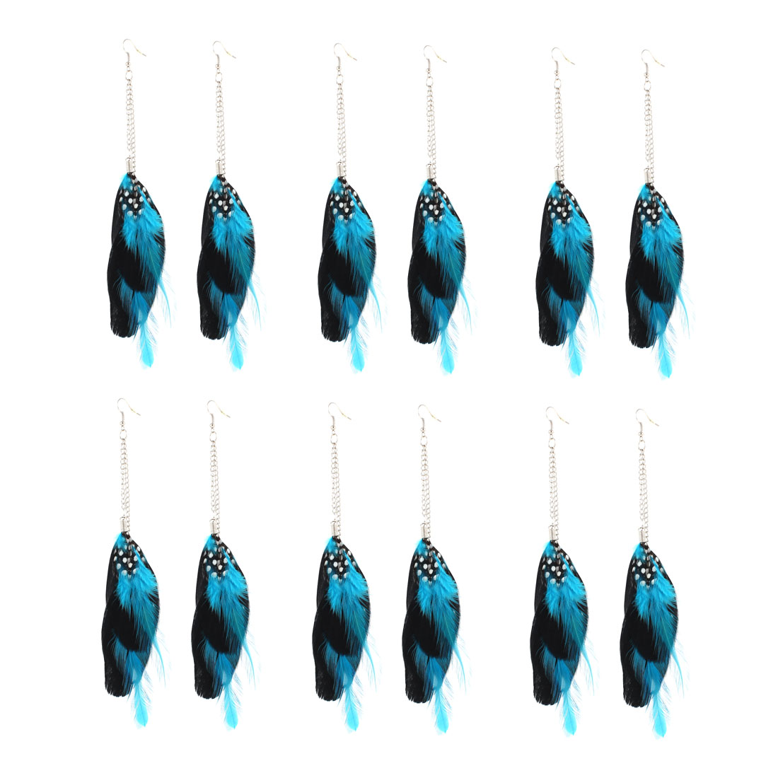6 Pairs Blue Black Faux Feathers Metal Chains Pendant Earring Eardrop for Lady