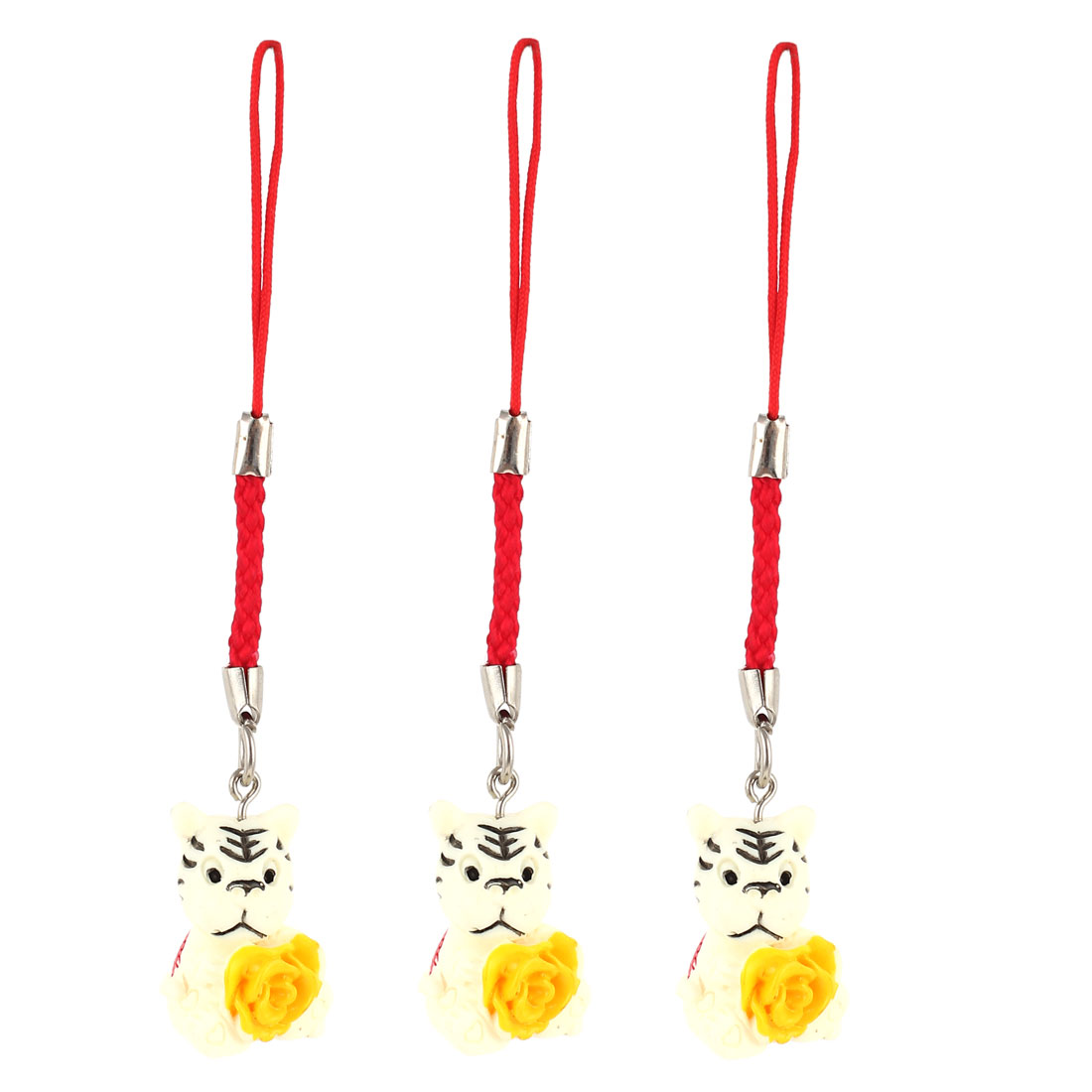 3 Pcs Flower Decor Tiger Pendant Phone Straps Hanging Beige for Girls