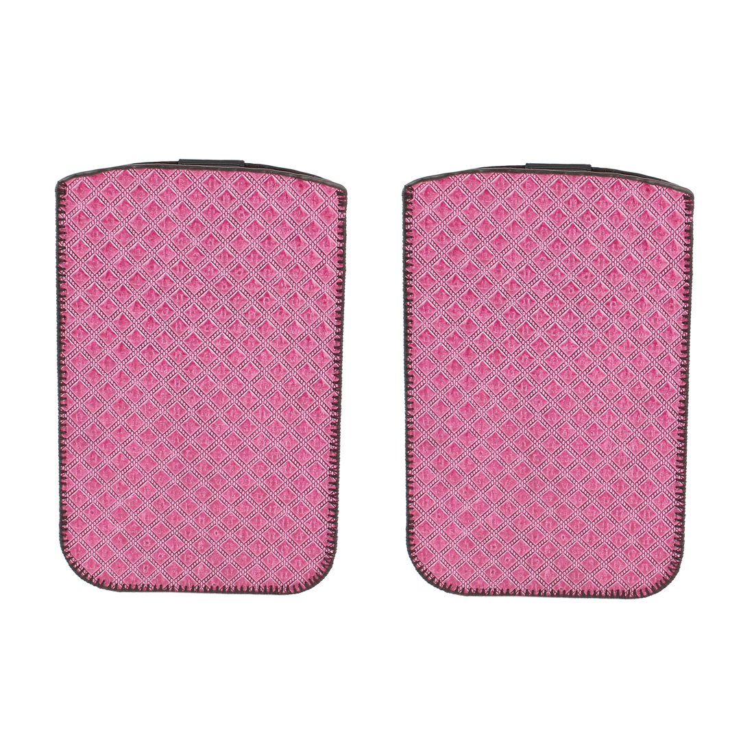 2 Pcs Fuchsia Faux Leather Checkered Prints Vertical Bag Holder Case for Cell Phone