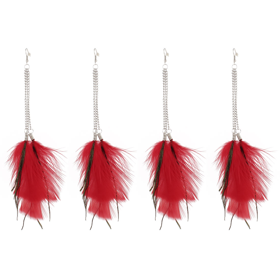 2 Pairs Metal Chain Linked Red Feathers Pendant Earring Eardrop for Lady