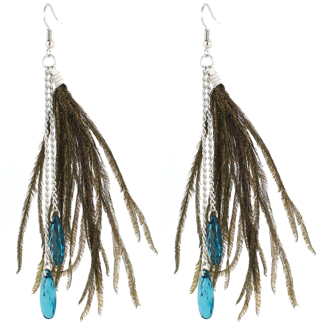 2 Pairs Teal Faux Feather Blue Beads Pendant Earrings Eardrop for Lady