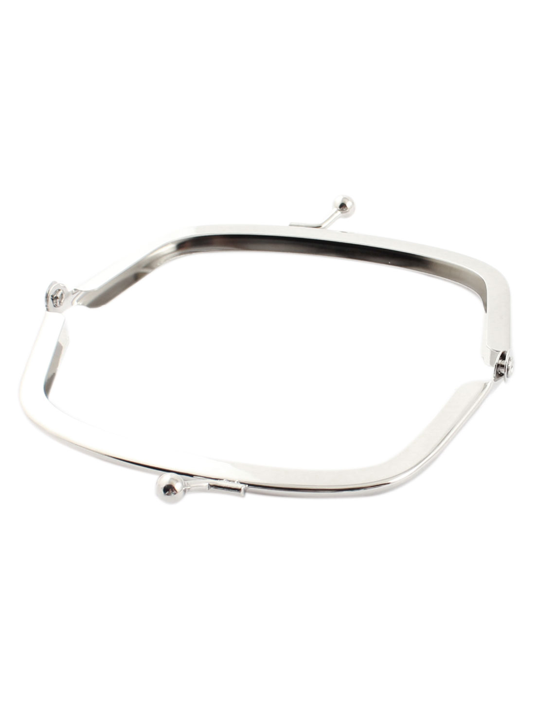 Pouch Bag Arch Shaped Kisslock Clasp Metal Purse Frame Silver Tone 10.5cm Long