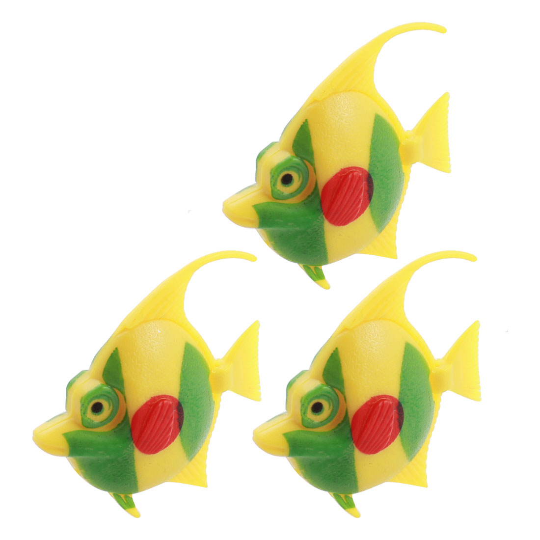 3pcs Movable Tail Plastic Tropical Fish Decoration Green Yellow for Aquarium