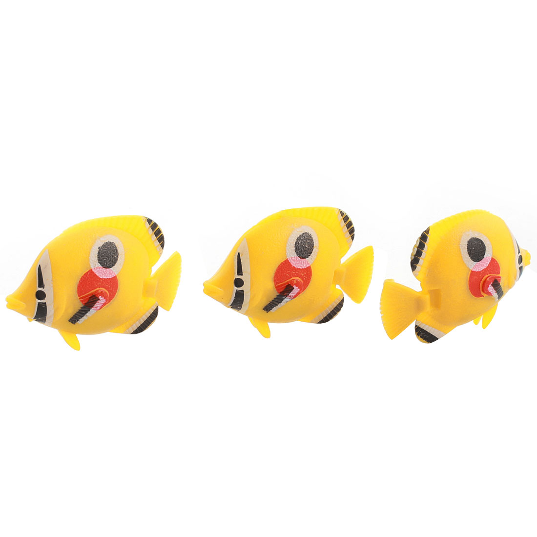 3 Pcs Aquarium Manmade Wiggly Tail Swimming Fishes Decor Yellow Red