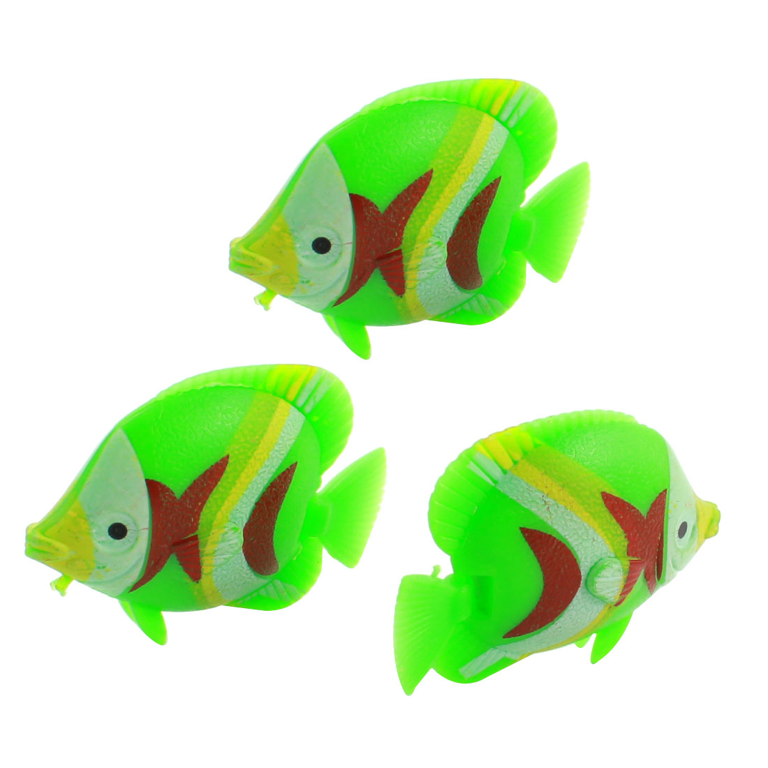 3 Pcs Aquarium Manmade Wiggly Tail Swimming Fishes Decor Green Gray
